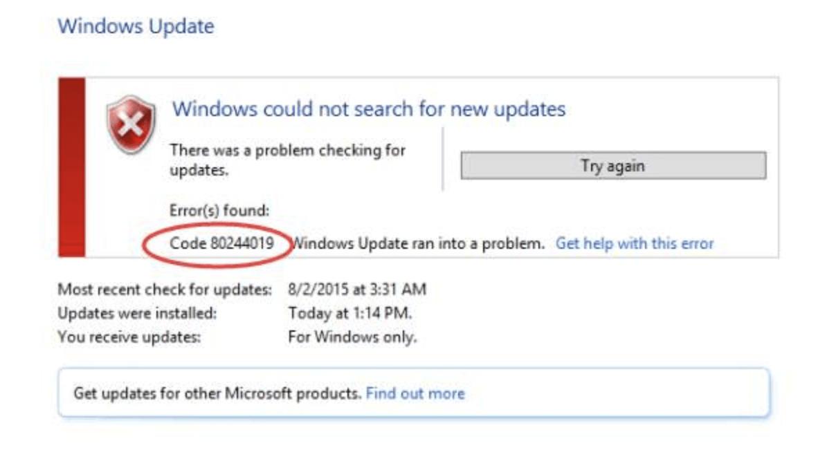 Windows Update Error 80244019