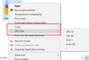 remove CRC SHA from CONTEXT Menu