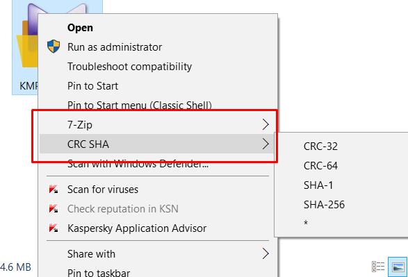 remove CRC SHA from CONTEXT Menu