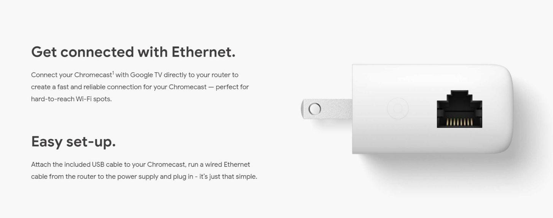 use ethernet connection chromecast