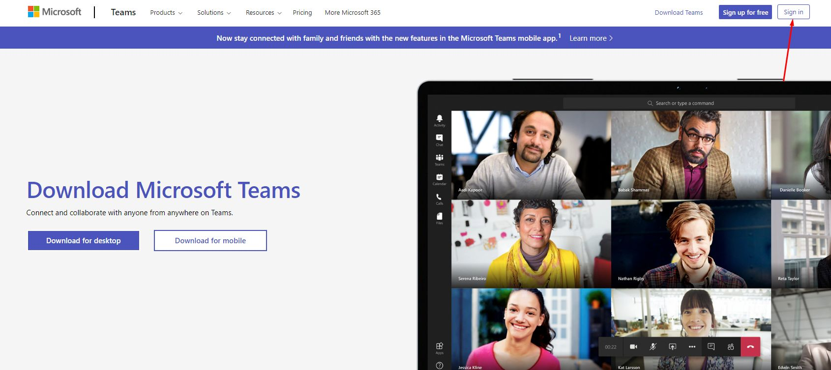 microsoft teams sign in button
