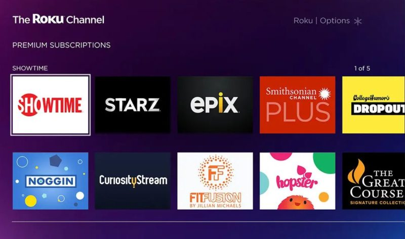 The Roku Channel browser
