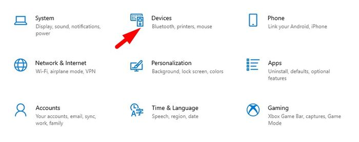 Click on Devices in Settings